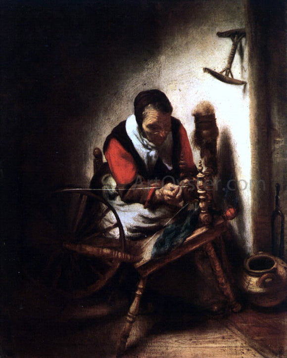 Nicolaes Maes A Woman Spinning - Canvas Art Print