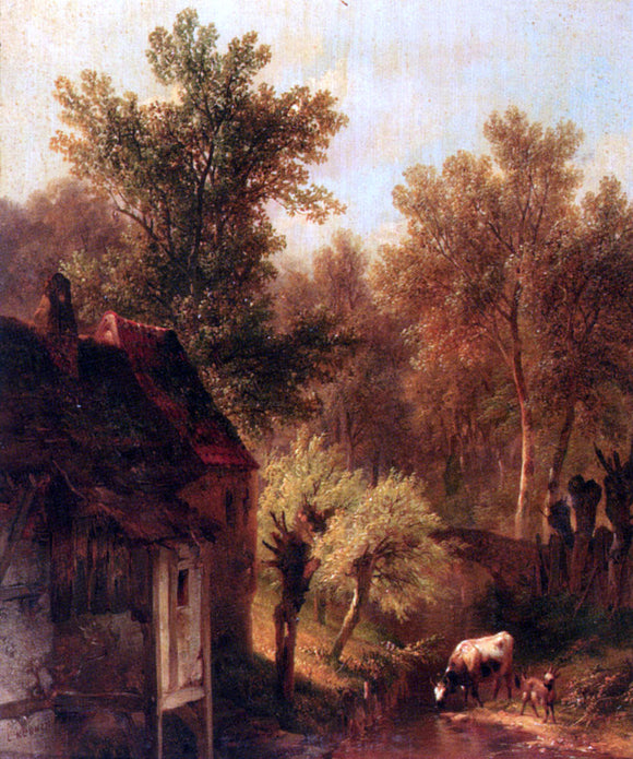 Pieter Lodewijk Kuhnen A Wooded Landscape With Cattle And A Cottage Along A Brook - Canvas Art Print