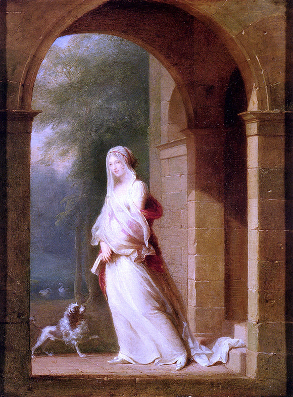 Jean-Baptiste Mallet Young Woman Standing in an Archway - Canvas Art Print
