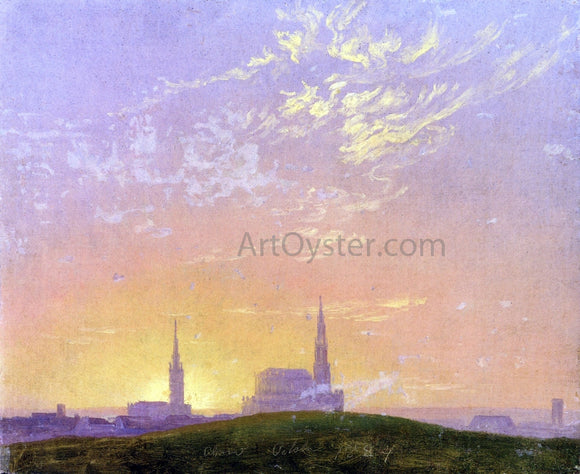 Caspar David Friedrich Abend (also known as Sonnenuntergang Hinter der Dresdener Hofkirche) - Canvas Art Print