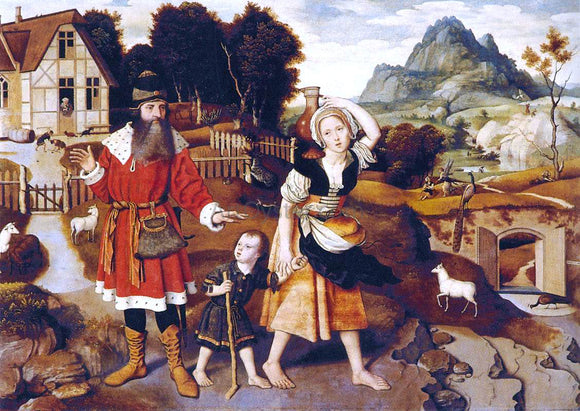Jan Mostaert Abraham and Hagar - Canvas Art Print