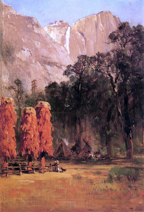Thomas Hill Acorn granaries, by Piute Indian camp in Yosemite - Canvas Art Print