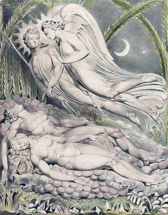 William Blake Adam and Eve Sleeping - Canvas Art Print