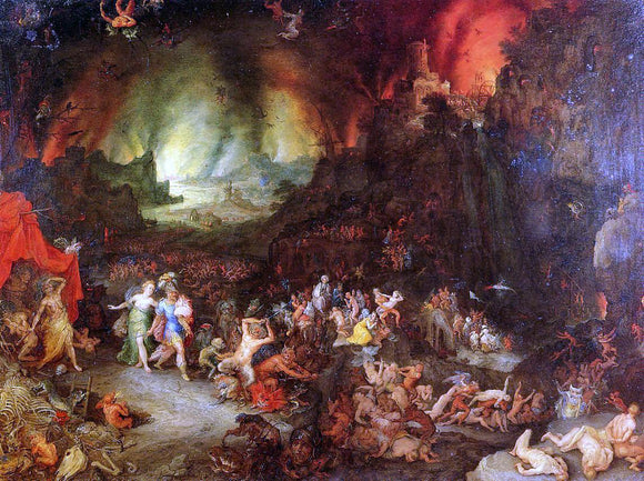 The Elder Jan Bruegel Aenaes and the Sybil in Hades - Canvas Art Print