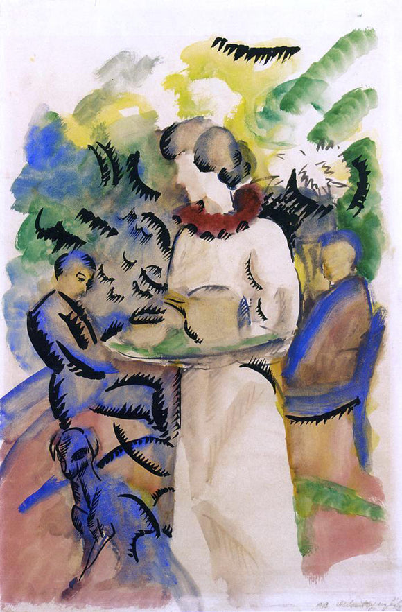 August Macke Afternoon in the Garden - Canvas Art Print