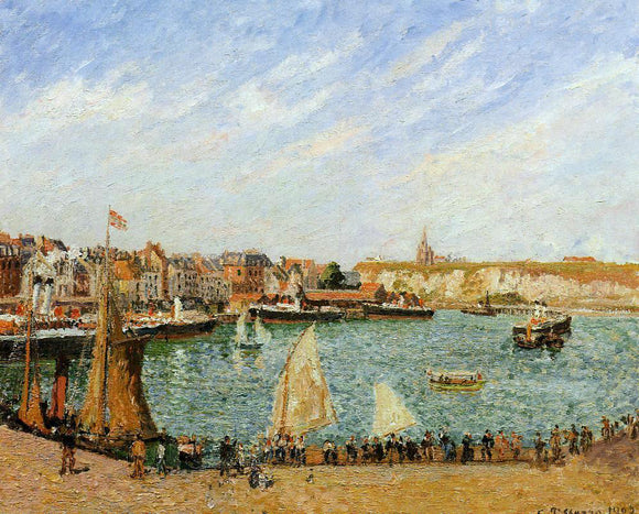 Camille Pissarro Afternoon, Sun, the Inner Harbor, Dieppe - Canvas Art Print
