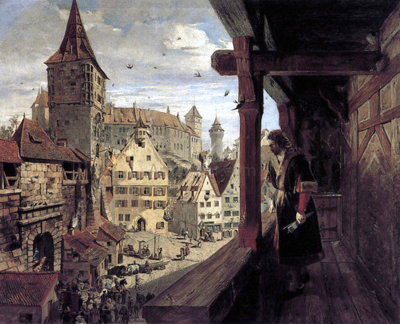William Bell Scott Albrecht Durer on the Balcony of his House - Canvas Art Print