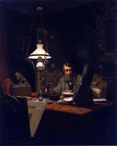 Edouard-Antoine Marsal Alfred Bruyas in His Study - Canvas Art Print