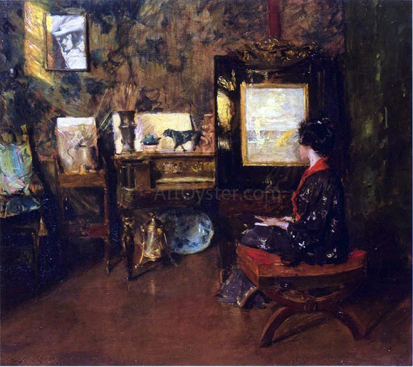 William Merritt Chase Alice in the Shinnecock Studio - Canvas Art Print