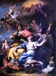 Sebastiano Ricci Allegory of France as Minerva is Triumphing over Ignorance and Crowning the Virtue - Canvas Art Print