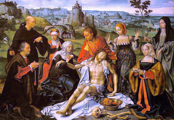 Joos Van Cleve Altarpiece of the Lamentation (central) - Canvas Art Print
