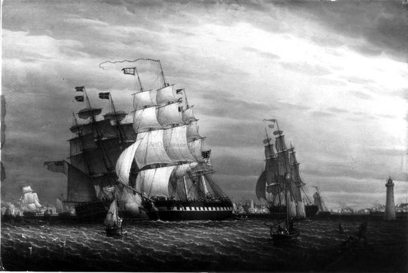 Robert Salmon American Ships in the Mersey - Canvas Art Print