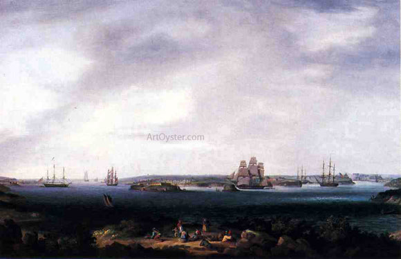 Thomas Birch American Warships Anchored at Port Mahon, Spain - Canvas Art Print