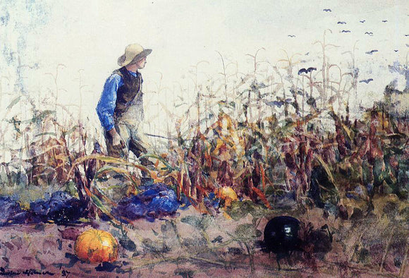 Winslow Homer Among the Vegetables (also known as Boy in a Cornfield) - Canvas Art Print