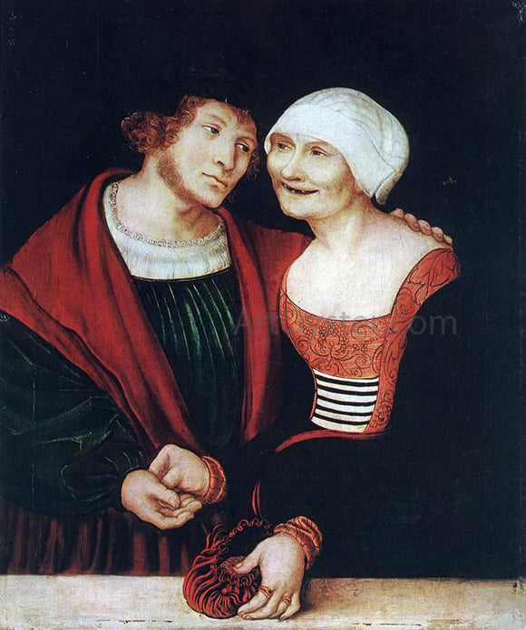 The Elder Lucas Cranach Amorous Old Woman and Young Man - Canvas Art Print