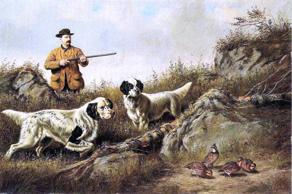 Arthur Fitzwilliam Tait Amos F. Adams Shooting Over Gus Bondher and Son, Count Bondher - Canvas Art Print