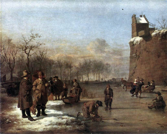 Adriaen Van de Velde Amusement on the Ice - Canvas Art Print