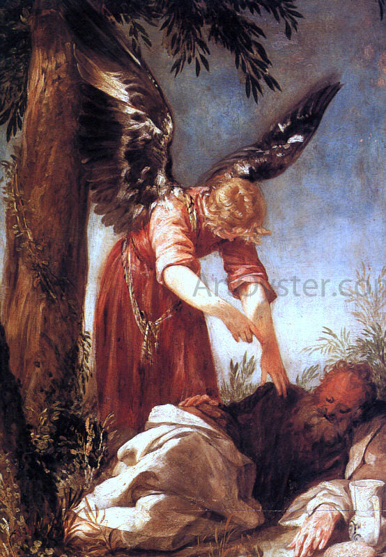 Juan Antonio Frias Y Escalante An Angel Awakens the Prophet Elijah - Canvas Art Print
