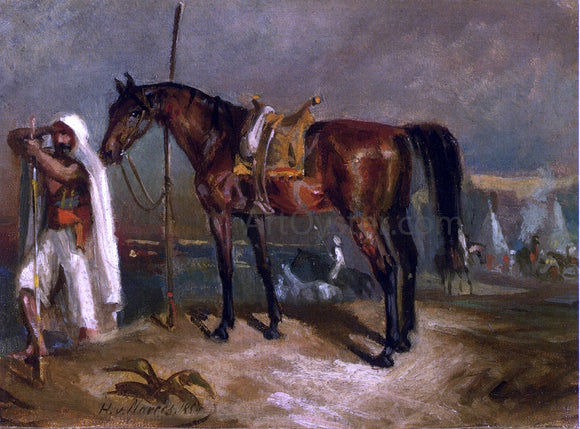 Hans Von Marees An Arab Beside His Horse - Canvas Art Print