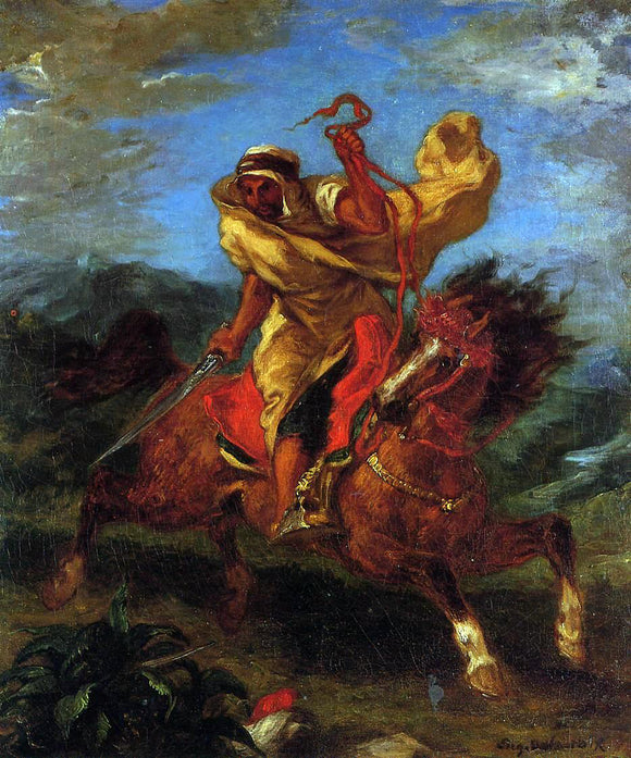 Eugene Delacroix An Arab Horseman at the Gallop - Canvas Art Print