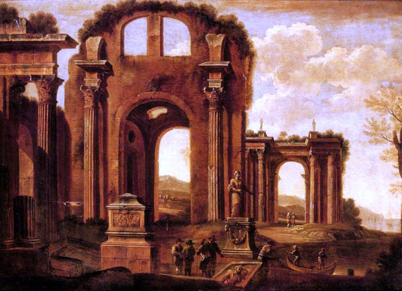 Giovanni Ghisolfi An Architectural Capriccio with Figures by a Statue and a Fountain - Canvas Art Print