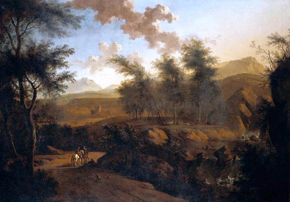 Frederick De Moucheron An Extensive Italianate Landscape - Canvas Art Print