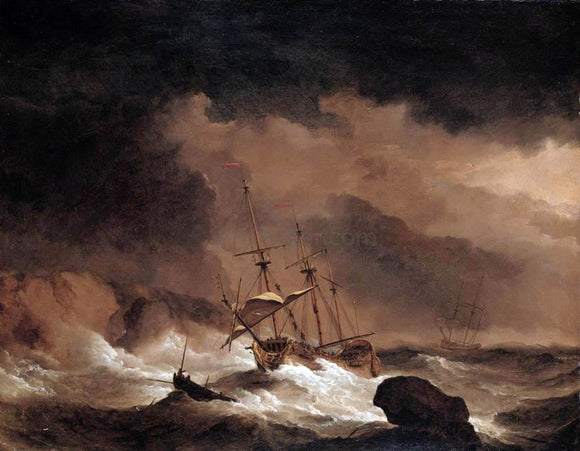The Younger Willem Van de  Velde An Indiaman in a Gale off a Rocky Coast - Canvas Art Print