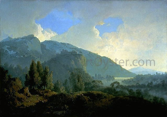 Joseph of Derby An Italian Landscape with Mountains and a River - Canvas Art Print