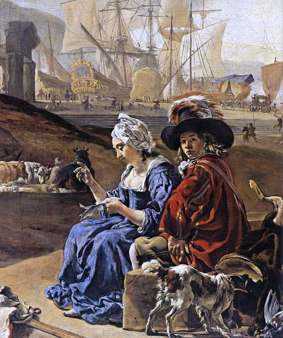 Jan Weenix An Italian Seaport (detail) - Canvas Art Print