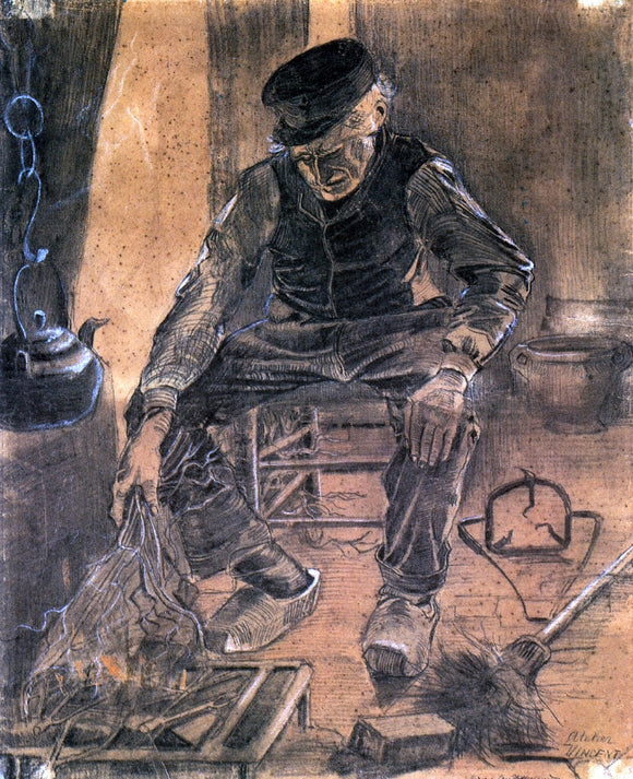 Vincent Van Gogh An Old Man Putting Dry Rice on the Hearth - Canvas Art Print