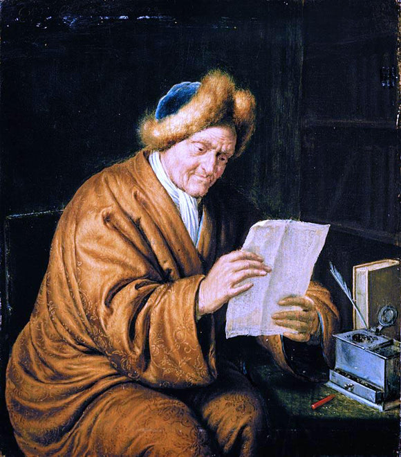 Willem Van Mieris An Old Man Reading - Canvas Art Print