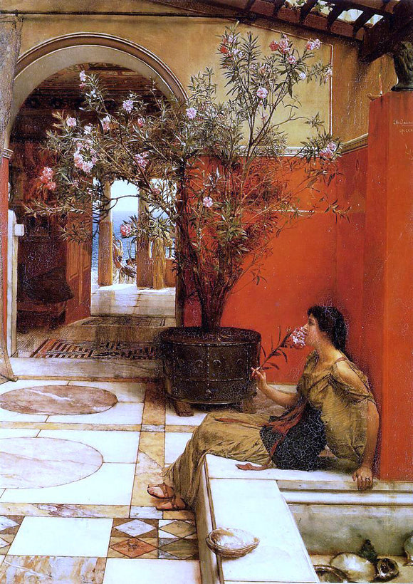 Sir Lawrence Alma-Tadema An Oleander - Canvas Art Print