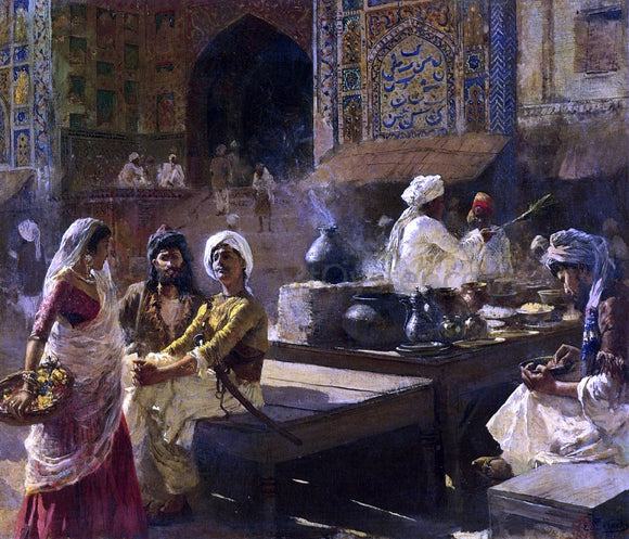 Edwin Lord Weeks An Open-Air Kitchen, Lahore, India - Canvas Art Print