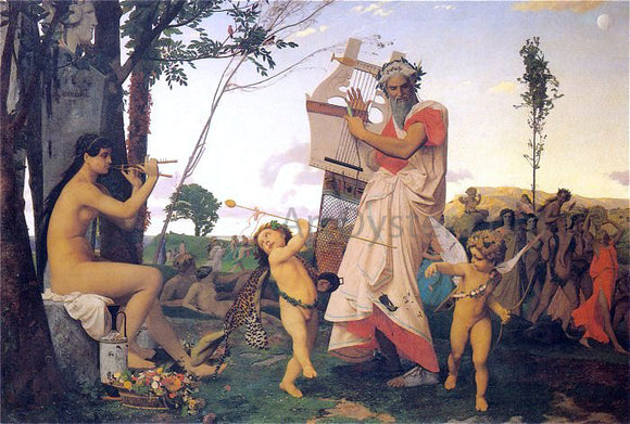 Jean-Leon Gerome Anacreon, Bacchus, and Amor - Canvas Art Print