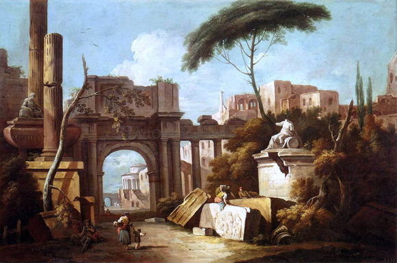 Giuseppe Zais Ancient Ruins with a Great Arch and a Column - Canvas Art Print