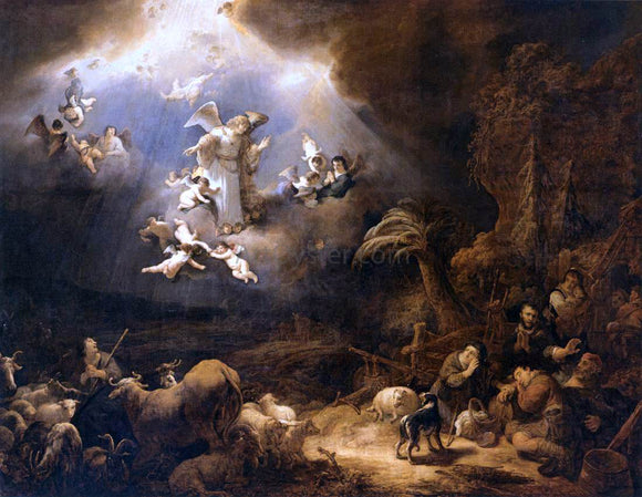 Govert Teunisz Flinck Angels Announcing the Birth of Christ to the Shepherds - Canvas Art Print