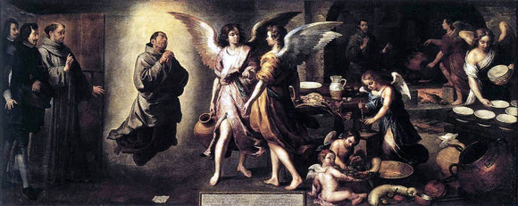 Bartolome Esteban Murillo Angels' Kitchen - Canvas Art Print