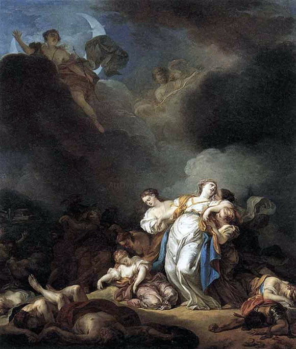 Anicet-Charles-Gabriel Lemonnier Apollo and Diana Attacking Niobe and her Children - Canvas Art Print