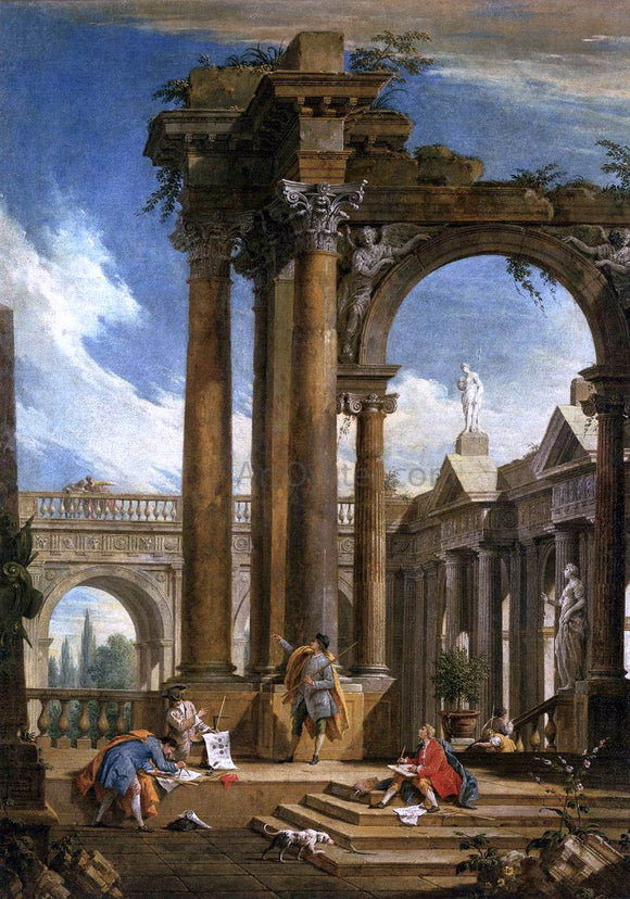 Antonio Visentini Architectural Fantasy - Canvas Art Print