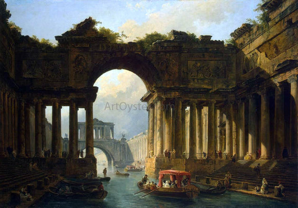Hubert Robert Architectural Landscape with a Canal - Canvas Art Print