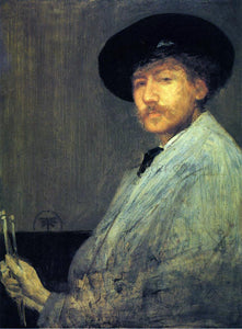 James McNeill Whistler Arrangement in Grey: Portrait of the Painter - Canvas Art Print