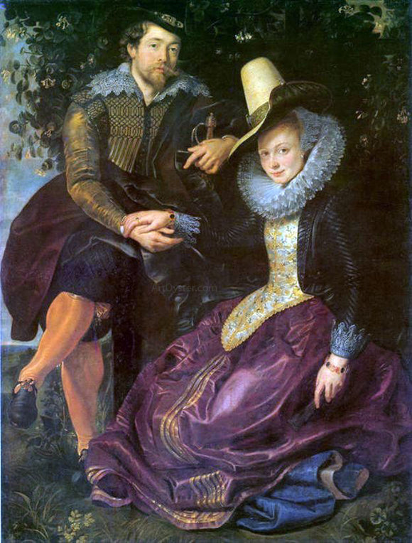Peter Paul Rubens Artist and His First Wife, Isabella Brant, in the Honeysuckle Bower - Canvas Art Print