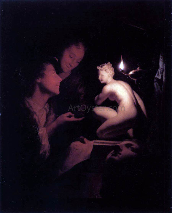 Godfried Schalcken Artist and Model Looking at an Ancient Statue by Lamplight - Canvas Art Print