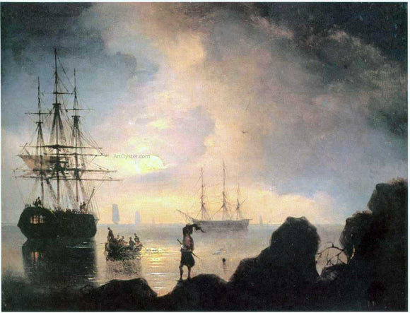 Ivan Constantinovich Aivazovsky At night, Smugglers - Canvas Art Print