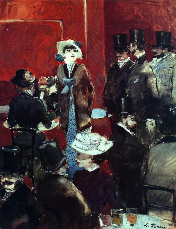 Jean-Louis Forain At the Cafe - Canvas Art Print