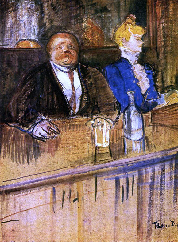 Henri De Toulouse-Lautrec At the Cafe: The Customer and the Anemic Cashier - Canvas Art Print