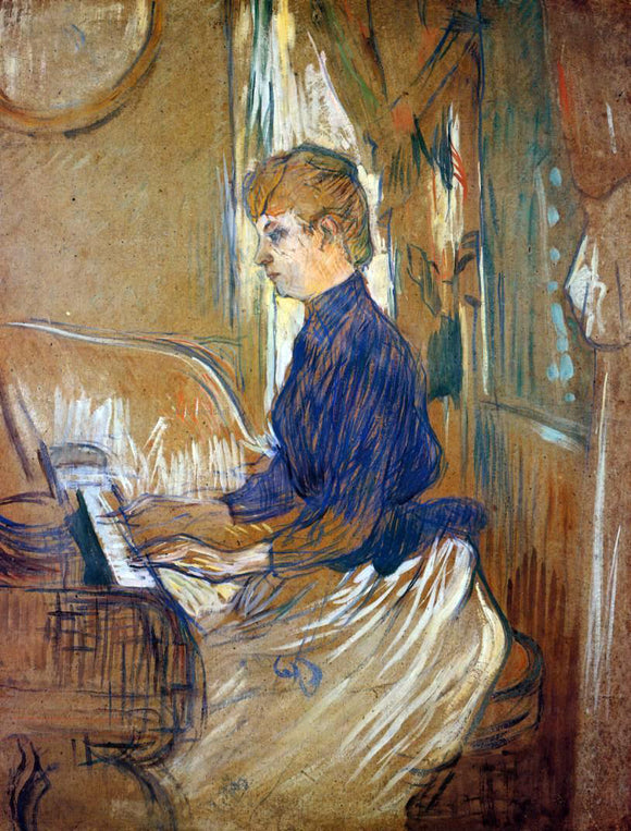 Henri De Toulouse-Lautrec At the Piano - Madame Juliette Pascal in the Salon of the Chateau de Malrome - Canvas Art Print