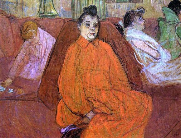 Henri De Toulouse-Lautrec At the Salon, the Divan - Canvas Art Print