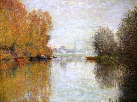 Claude Oscar Monet Autumn on the Seine at Argenteuil - Canvas Art Print