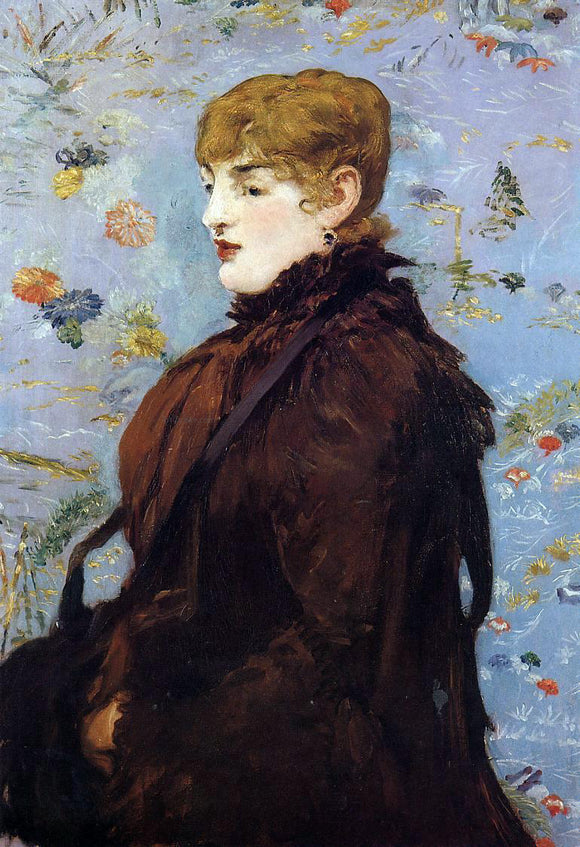 Edouard Manet Autumn, Portait of Mery Laurent in a Brown Fur Cape - Canvas Art Print